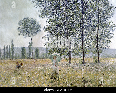 'fine arts, Monet, Claude (1840 - 1926), painting ,'Fields in Spring', 1887, oil on canvas, Staatsgalerie Stuttgart, - Stock Photo