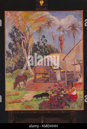 'fine arts, Gauguin, Paul (1848 - 1903), painting, 'Black Pigs', 1891, oil on canvas, Museum of Fine Arts, Budapest, - Stock Photo