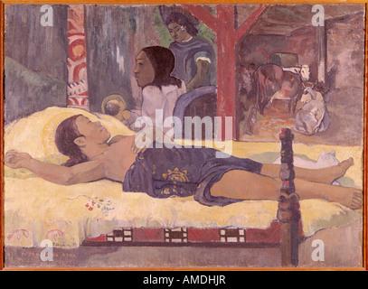'fine arts, Gauguin, Paul (1848 - 1903), painting, 'Nativity', 1896, oil on canvas, Neue Pinakothek, Munich, 'Te - Stock Photo