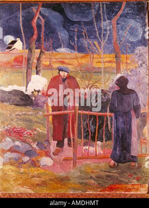 'fine arts, Gauguin, Paul (1848 - 1903), painting, 'Bonjour, Monsieur Gauguin', 1889, oil on canvas, Narodni Gallery, - Stock Photo