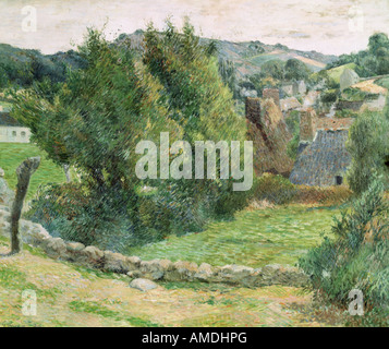 fine arts, Gauguin, Paul (1848 - 1903), painting, landscape at Pont-Aven, oil on canvas, private collection, French, - Stock Photo