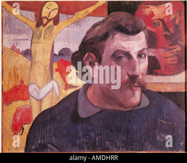 'fine arts, Gauguin, Paul (1848 - 1903), painting, 'Self-Portrait with Yellow Christ', 1889, oil on canvas, pivate - Stock Photo