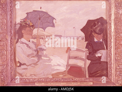 'fine arts, Monet, Claude (1840 - 1926), painting, 'The Beach at Trouville', 1870, oil on canvas, National Gallery, - Stock Photo