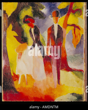 'fine arts, Macke, August, (3.1.1887 - 26.9.1914), painting, 'Leute am blauen See', 'People at the blue lake', 1913, - Stock Photo