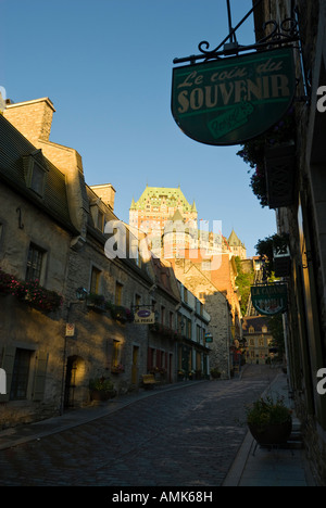 View of the Fairmont Chateau Frontenac from the old town section of Quebec City, province of Quebec, Canada. - Stock Photo