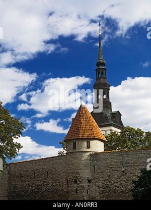 TALLINN REPUBLIC OF ESTONIA EUROPEAN UNION September St Nicholas Church from Toompea with the City Walls in the - Stock Photo