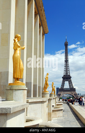 View of Eiffel tower from Trocadero Paris France - Stock Photo