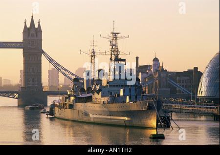 England,London,Southwark,HMS Belfast Museum Ship - Stock Photo