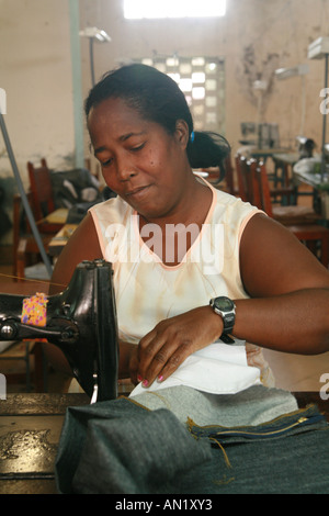 Cuba Cienfuegos January 2006 female worker in a dressmaking manufactory - Stock Photo