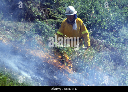 Volunteer Rural Fire Service Firefighter at a bushfire, Australia. - Stock Photo