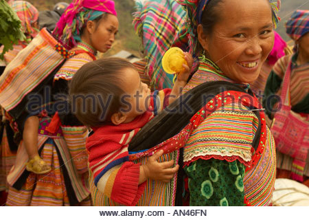 Lao Cai Province, Can Cau Market, Flower Hmong Hill Tribe, Saturday Market - Stock Photo