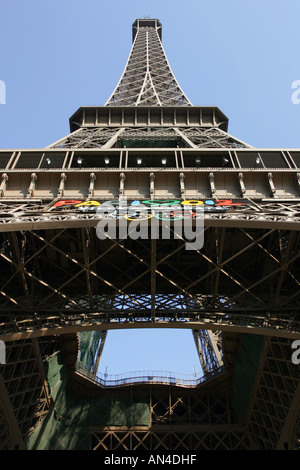 A general view of the Eiffel Tower pictured in the city of Paris in France. It is seen here from the bottom looking - Stock Photo