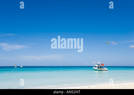 Negril Beach, Jamaica. Beach outside Couples Swept Away Resort, Seven Mile Beach, Long Bay, Negril, Jamaica, Caribbean - Stock Photo