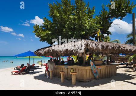 Jimmy Buffets Margaritaville Beach Bar, 'Seven Mile Beach', 'Long Bay', Negril, Jamaica, Caribbean, West Indies - Stock Photo