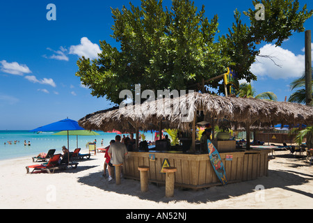 Jimmy Buffets Margaritaville Beach Bar, 'Seven Mile Beach', 'Long Bay', Negril, Jamaica, Caribbean, West Indies - Stock Photo