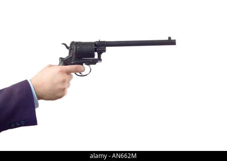 Man holding a gun, clipping path included - Stock Photo