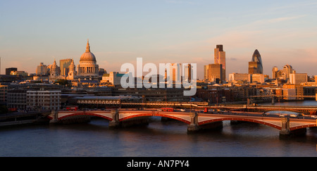 UK London View over River Thames towards st Pauls and the city skyline - Stock Photo