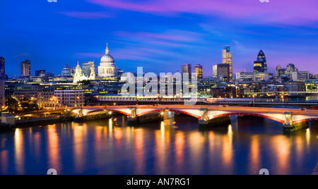 UK London View over river Thames towards St Pauls Cathedral and city skyline - Stock Photo