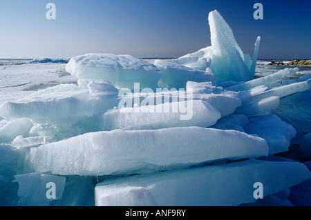 Ice on Lake Winnipeg in late spring, Hecla Provincial Park, Manitoba, Canada. - Stock Photo