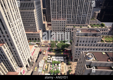 New York City Rockefeller Center Viewed From Top of Building NYC USA - Stock Photo