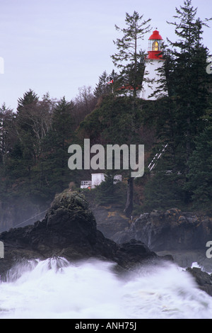 Pachena Point Lighthouse in a winter storm, Vancouver Island, British Columbia, Canada. - Stock Photo