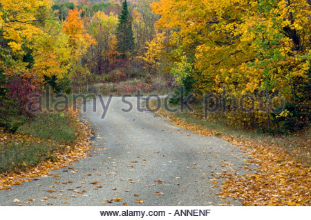 Country road on Jerusalem Hill and fall colour Manitoulin Island Ontario - Stock Photo