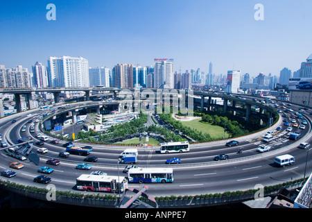 Nanpu Bridge on ramp Shanghai China - Stock Photo