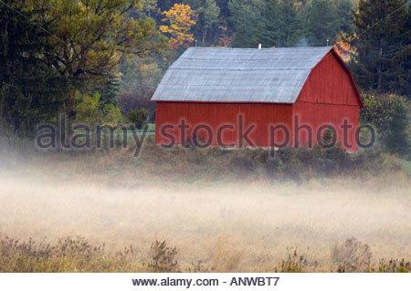 Fall foliage, barn and rising mists. Nairn Center, Ontario, Canada - Stock Photo