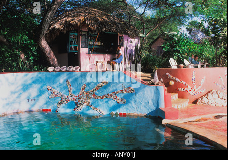 Jake s Place a hip hideaway resort on the South coast of Treasure Beach Jamaica - Stock Photo