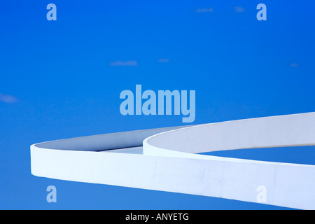 architecture detail of the futuristic national museum of brasilia city - Stock Photo