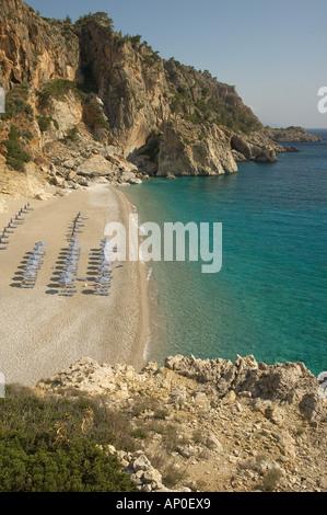 Europe, Greece, Karpathos, Kyra Panagia Beach: Popular swimming beach - Stock Photo