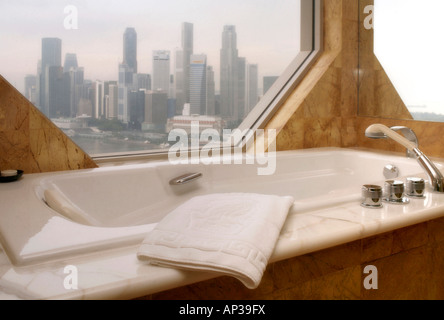 View of hotel room, Ritz-Carlton Hotel, Singapore - Stock Photo