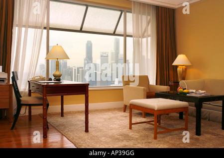 Hotel room, Ritz-Carlton Hotel, Singapore - Stock Photo