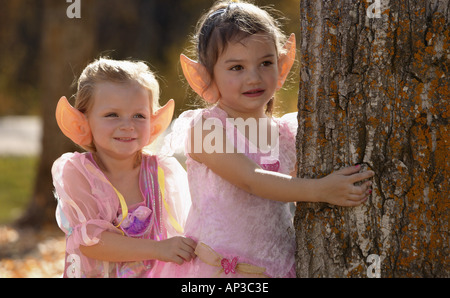 Fairy girls in the forest - Stock Photo