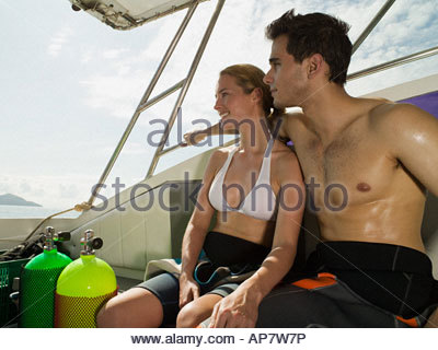 Couple in a boat - Stockfoto