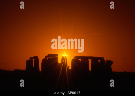 England Wiltshire stonehenge sunset - Stock Photo