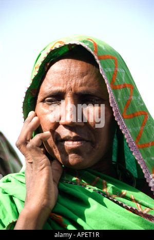 An Indian tribal woman in a green sari holds her hand against her face October 2007 India - Stock Photo