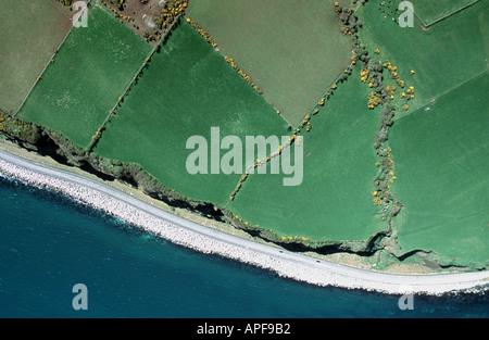 Coast of Northern Ireland near Larne aerial views County Antrim unspoiled uk coastline - Stock Photo