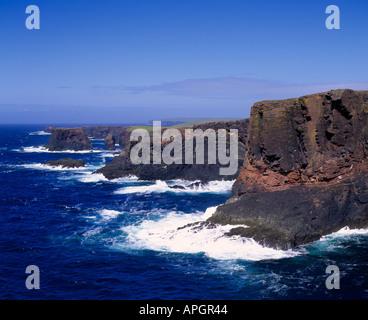 Basalt cliffs of Esha Ness, Mainland, Northmaven, Shetland, Scotland, UK - Stock Photo