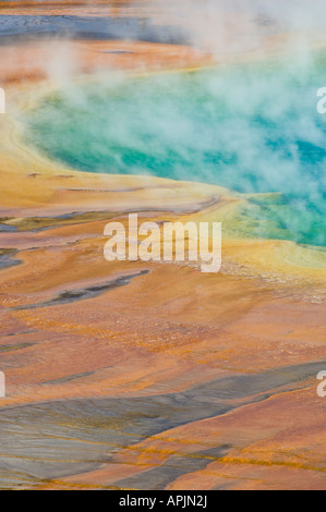Grand Prismatic Spring detail, Midway Geyser Basin, Yellowstone National Park, Wyoming - Stock Photo