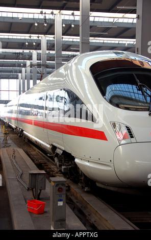 Deutsche Bahn InterCityExpress (ICE) train, Munich Hauptbahnhof station, Munich, Germany - Stock Photo