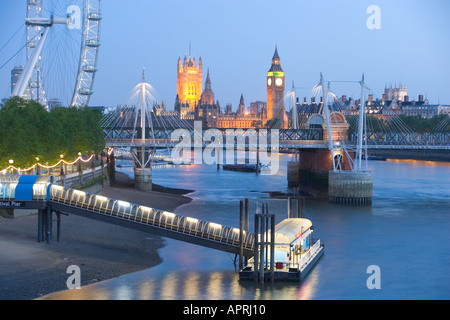 View of the London Eye and Big Ben from the River Thames London England UK - Stock Photo