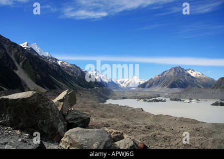 Milky Glacial Lake at the Tasman Glacier Mount Cook - Stock Photo