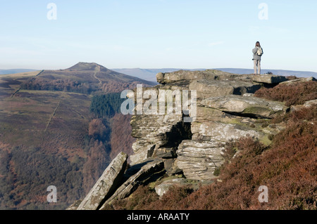 Female walker on Bamford edge in Derbyshire' Great Britain' - Stock Photo