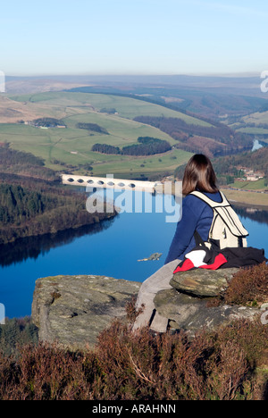 Female walker sat on Bamford Edge in Derbyshire 'Great Britain' - Stock Photo