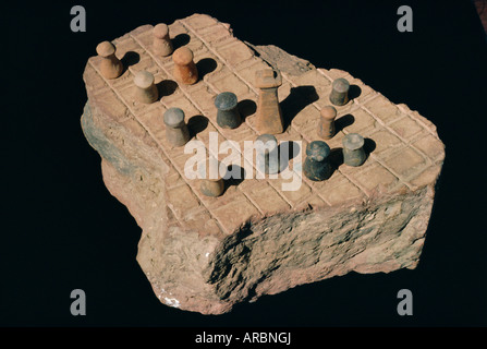 Board game, Indus Valley Civilisation, Harappa Museum, Pakistan - Stock Photo