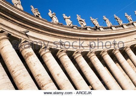 Gian Lorenzo Bernini's 17th century colonnade, Piazza San Pietro, St. Peter's, Vatican City, Rome, Lazio, Italy - Stock Photo