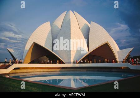 The Bahai Lotus Flower Temple, built in 1980, centre of the Bahai faith, Delhi, India - Stock Photo