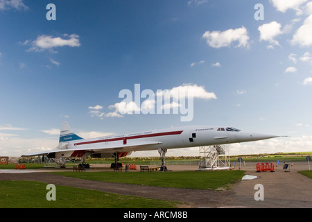Concord, first Supersonic passenger airliner on display at Duxford Imperial War Museum, Cambridgeshire GB UK - Stock Photo
