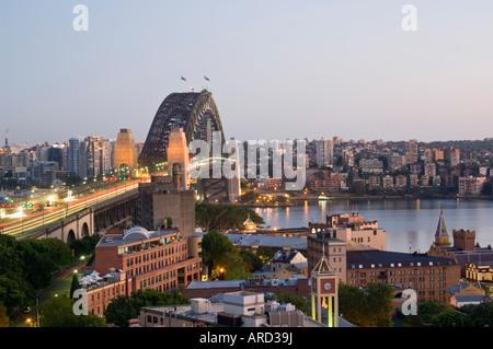 Sydney Harbour Bridge at dawn Sydney New South Wales Australia - Stock Photo